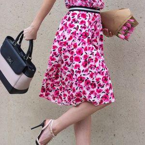 Kate Spade Mini Rose Pleated Pink Red Silk Skirt 2